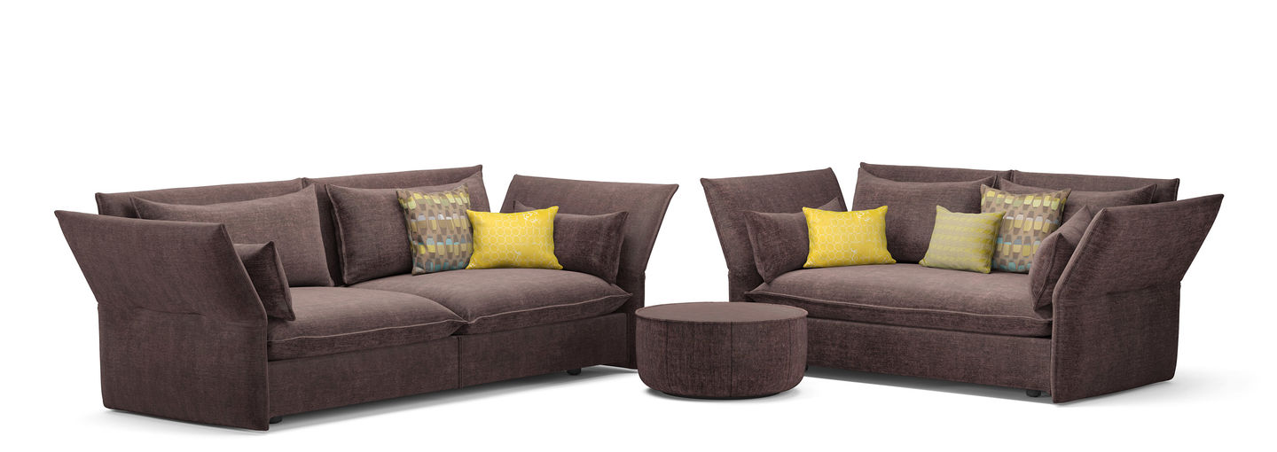 Vitra mariposa 3 seater 2 seater ottoman for Couch polsterung
