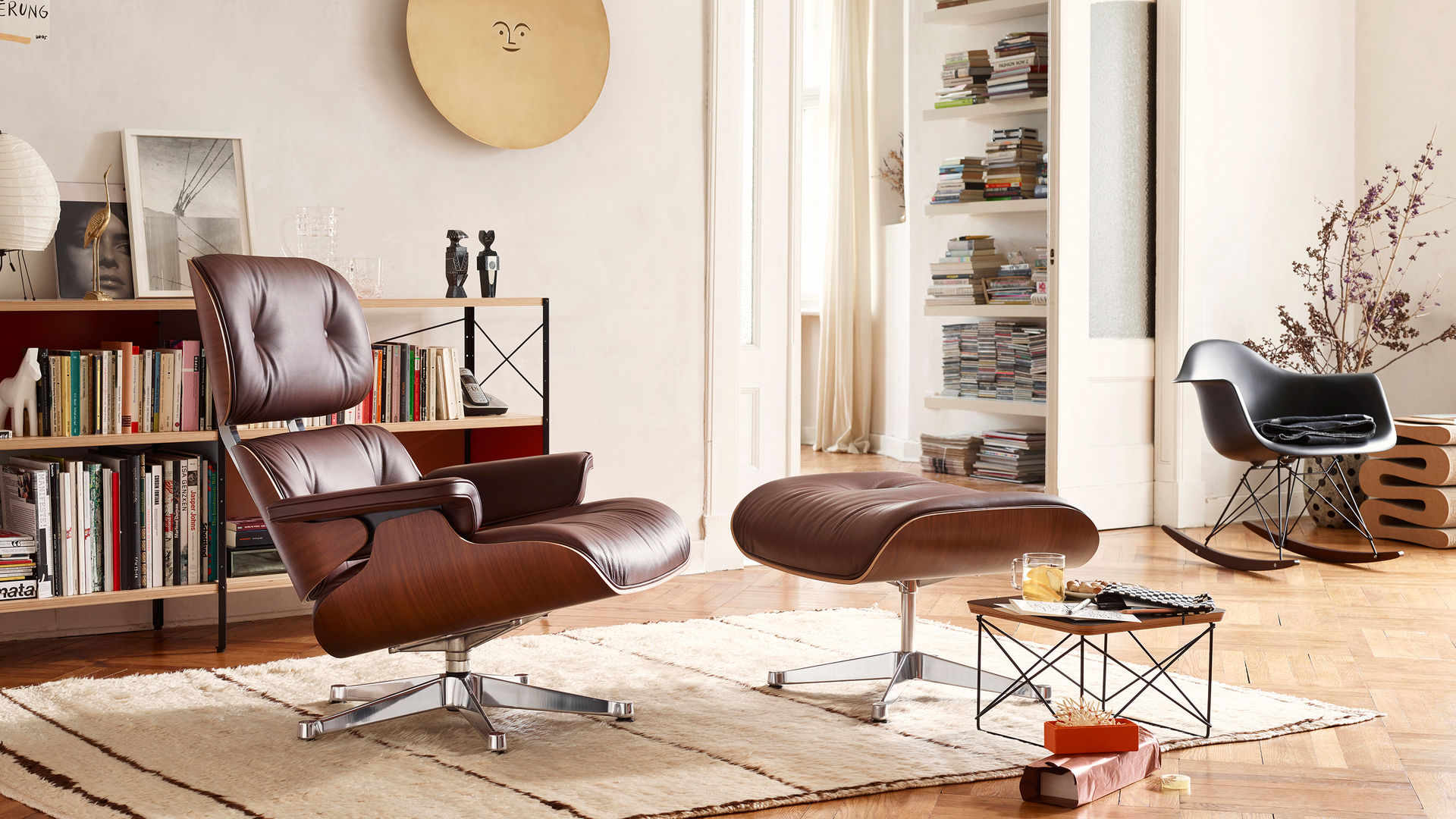 Lounge Chair Ottoman Occasional Table LTR Eames Plastic Armchair RAR Metal  Wall Relief Sun Wiggle Stool