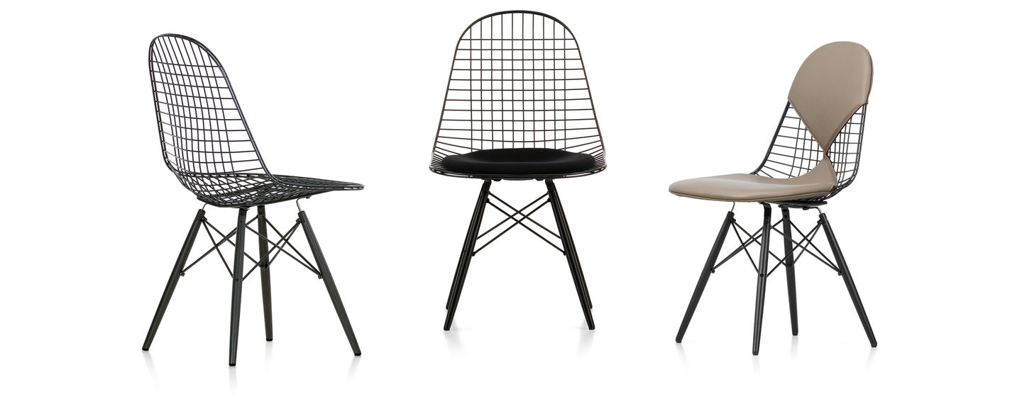 Eames wire chair dimensions - The Wire Chairs By Charles And Ray Eames Echo The Form Of The Eames Plastic Chairs The Spot Welded Wire Shell Gives The Metal Chairs Their Transparent Look