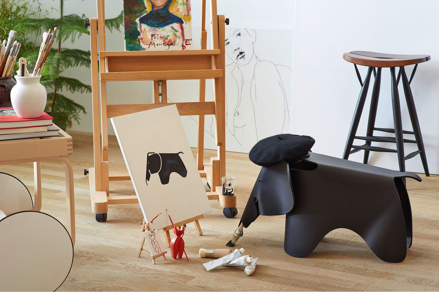 vitra  eames elephant - whether as a sturdy indooroutdoor toy or simply as an attractive object ina child's room this friendly looking animal with prominent oversized earswill