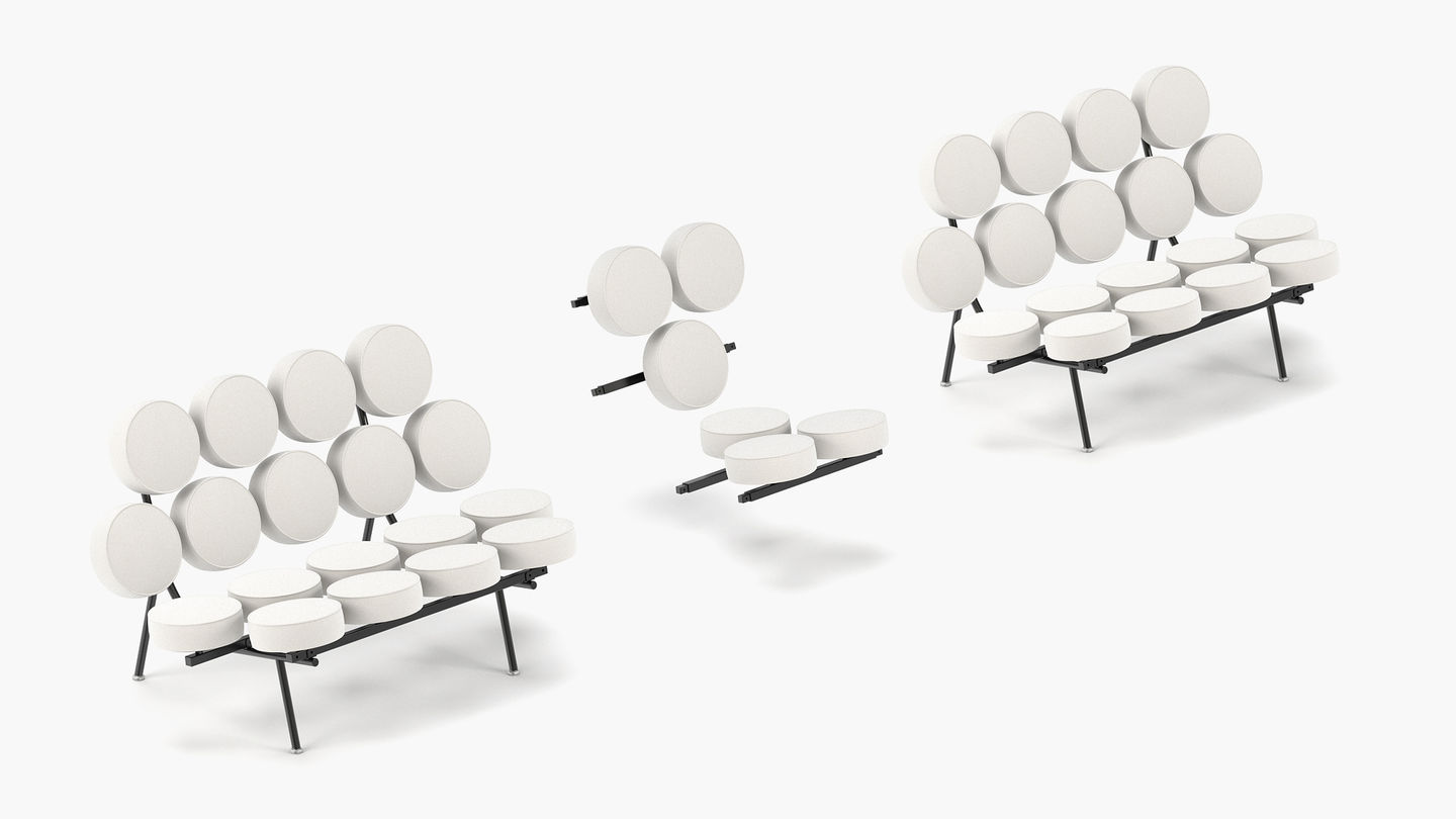 An Extension Element With Six Additional Cushions Can Be Mounted Between  Two Sofa Units, Making It Possible To Create A Sofa Of Indefinite Length.