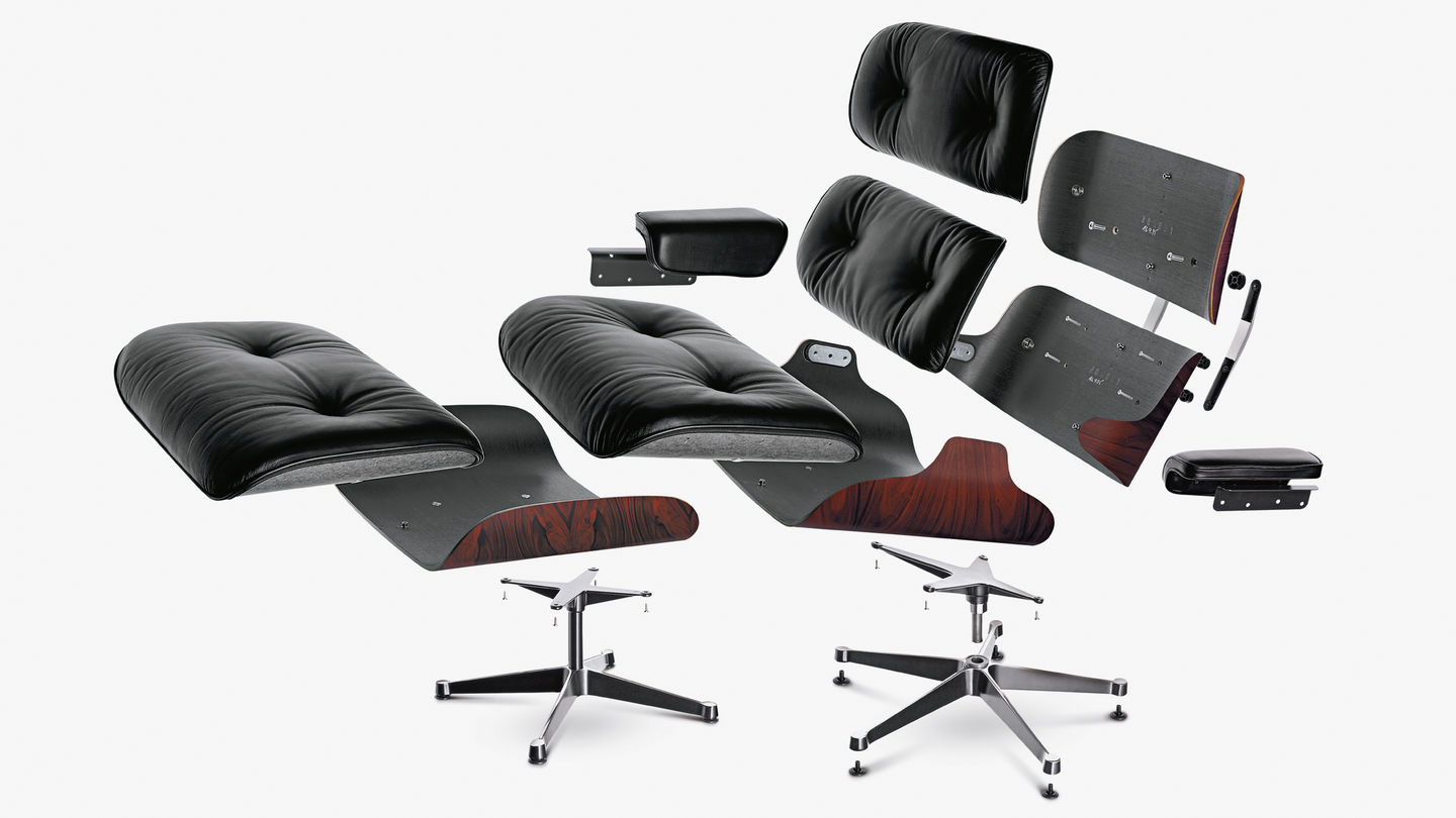 Vitra lounge chair amp ottoman white version von charles amp ray eames - Since The Lounge Chair First Went Into Production Average Human Height Has Increased Worldwide By Nearly 10 Cm In Close Coordination With The Eames Office