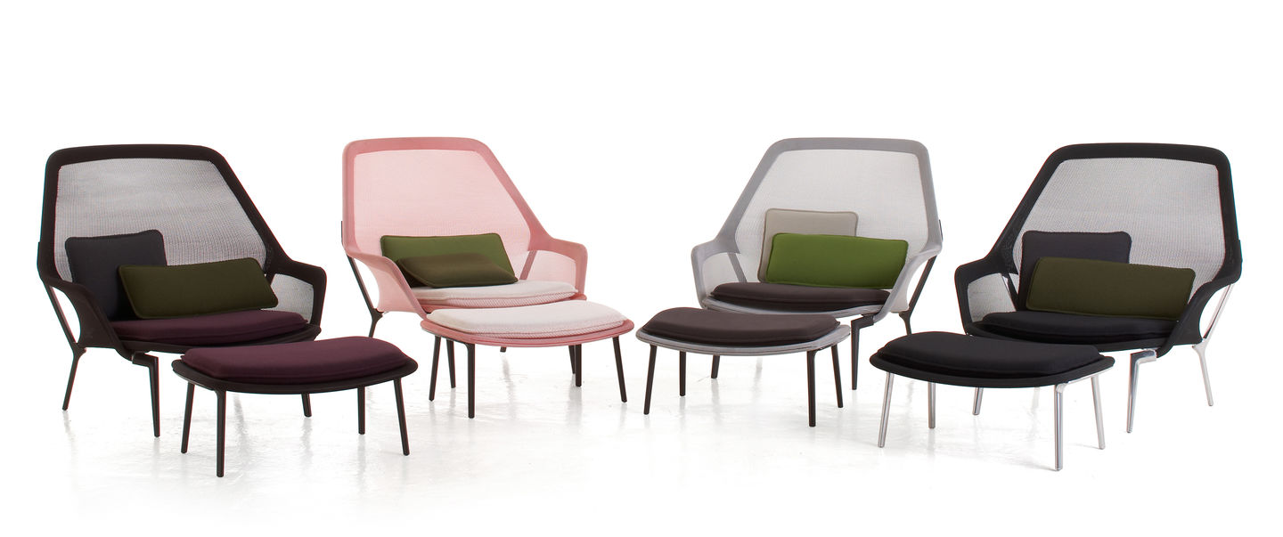 the comfort of the expansive slow chair by ronan and erwan bouroullec can be enjoyed in full by pairing it with the matching ottoman - Bergroer Sessel Und Ottomane