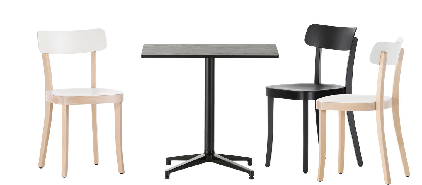 the bistro tables by ronan and erwan bouroullec share the design of their elegant cruciform base with the softshell chair due to its understated aesthetic
