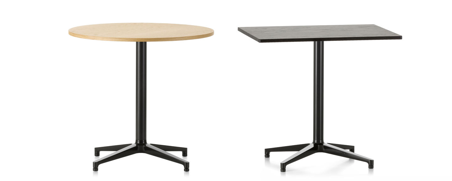 featuring an elegant cruciform base and understated design the bistro table by ronan and erwan bouroullec is also suited for outdoor use in the