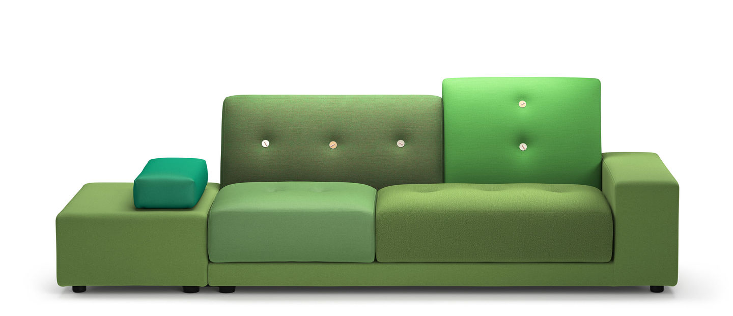 vitra  polder sofa - the distinctive design of the comfortable polder sofa by hella jongeriusderives from its asymmetrical shape varied combinations of fabrics andcolours