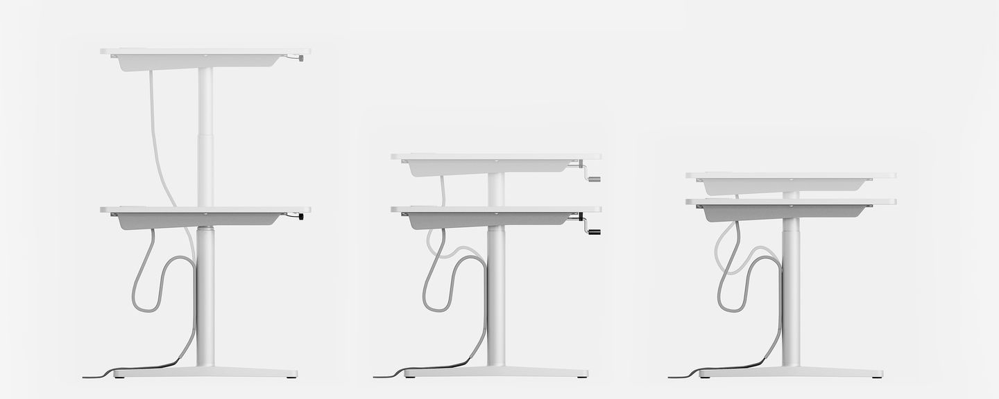 Vitra   Tyde - ... for sit-stand tables, and a hand crank or manual locking mechanism for  standard tables. Additional elements such as technical beams, various  screens, ...